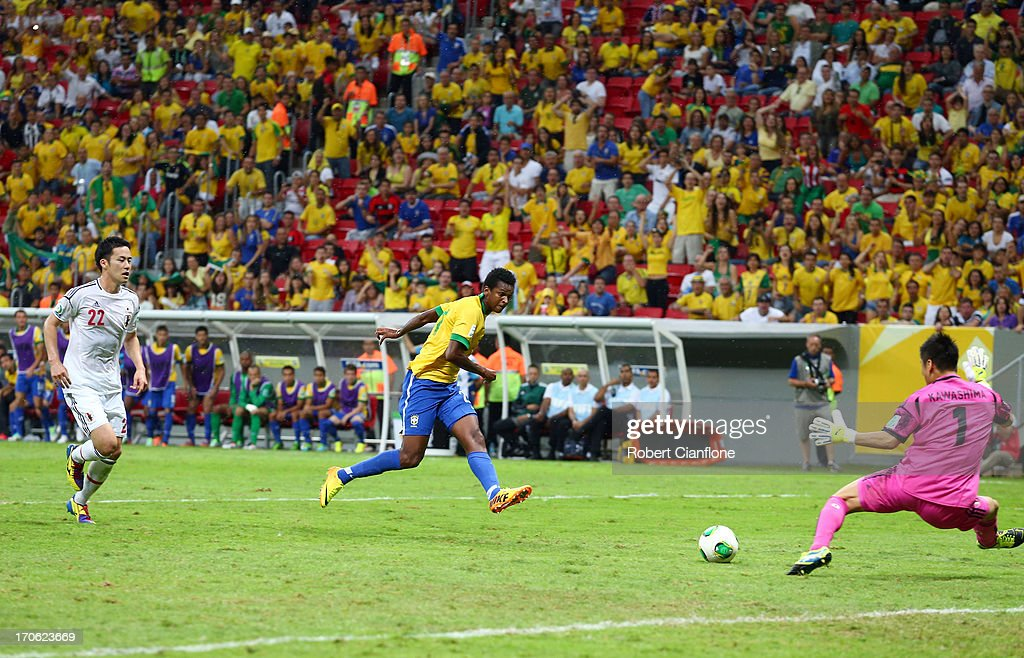 Jo of Brazil scores his team's third goal during the FIFA Confederations Cup Brazil 2013 Group A match between Brazil and Japan at National Stadium on June 15, 2013 in Brasilia, Brazil.