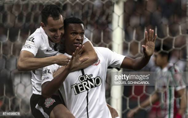 Jo of Brazils Corinthians celebrates his first goal with teammate Rodriguinho during the match against Fluminense of the 2017 Brazilian championship...