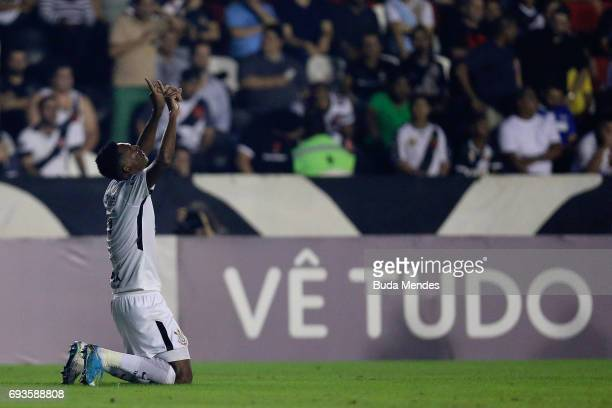 Jo of Corinthians celebrates a scored goal against Vasco during a match between Vasco and Corinthians as part of Brasileirao Series A 2017 at Sao...