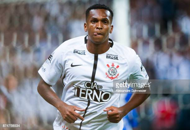 Jo of Corinthians celebrates after scoring their second goal during the match against Fluminense for the Brasileirao Series A 2017 at Arena...