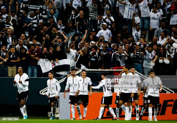 Jo of Corinthians celebrates their second during the match between Corinthians and Santos for the Brasileirao Series A 2017 at Arena Corinthians...