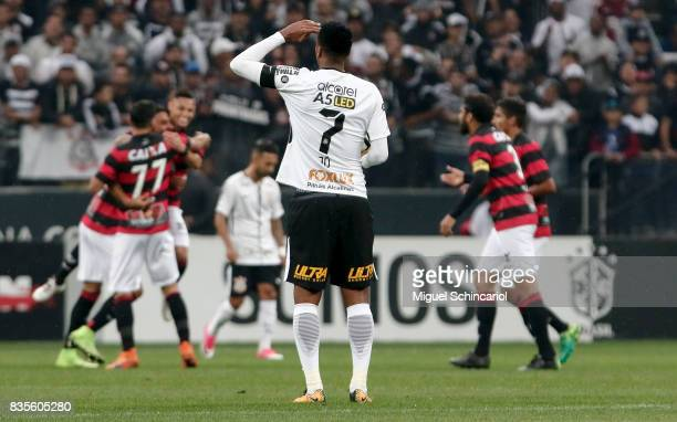 Jo of Corinthians reacts after a goal of Trellez of Vitoria the match between Corinthians and Vitoria for the Brasileirao Series A 2017 at Arena...