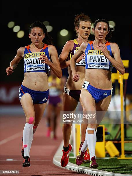 Jo Pavey and Clemence Calvin of Europe in action during the Womens 5000m Final during Day two of the IAAF Continental Cup at the Stade de Marrakech...