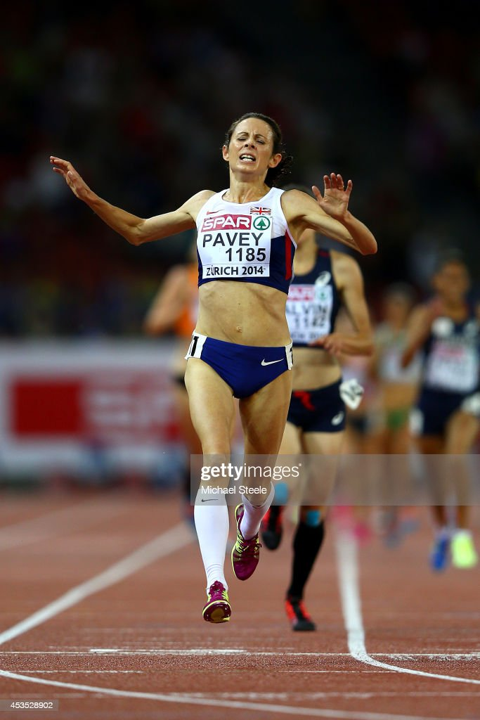 Jo Pavey of Great Britain and Northern Ireland crosses the line to win gold in the Women's 10,000 metres final during day one of the 22nd European Athletics Championships at Stadium Letzigrund on August 12, 2014 in Zurich, Switzerland.