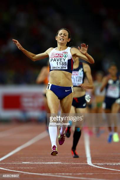 Jo Pavey of Great Britain and Northern Ireland crosses the line to win gold in the Women's 10000 metres final during day one of the 22nd European...