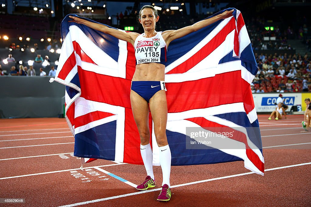 <a gi-track='captionPersonalityLinkClicked' href=/galleries/search?phrase=Jo+Pavey&family=editorial&specificpeople=2299606 ng-click='$event.stopPropagation()'>Jo Pavey</a> of Great Britain and Northern Ireland poses with a Union Jack after winning gold in the Women's 10,000 metres final during day one of the 22nd European Athletics Championships at Stadium Letzigrund on August 12, 2014 in Zurich, Switzerland.