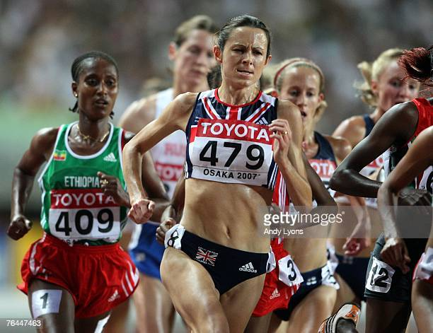Jo Pavey of Great Britain competes during the Women's 5000m Final on day eight of the 11th IAAF World Athletics Championships on September 1 2007 at...