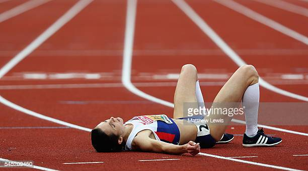 Jo Pavey of Great Britain looks on after the Womens 10000m Final during day one of the 23rd European Athletics Championships at Olympic Stadium on...