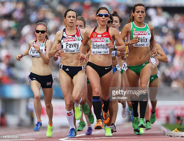 Jo Pavey of Great Britain Sabrina Mockenhaupt of Germany and Dulce Felix of Portugal compete in the Women's 10000 Metres Final during day five of the...