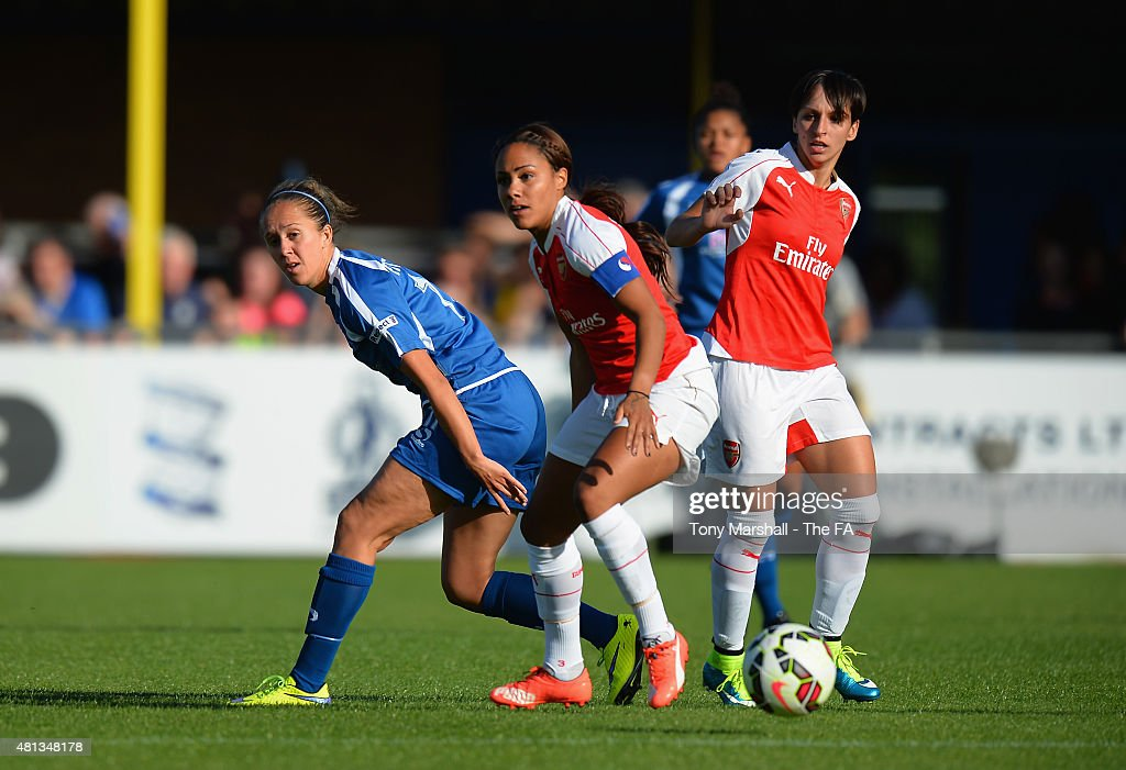 Jo Potter of Birmingham City Ladies is tackled by Alex Scott of Arsenal Ladies FC during the Women's Super League match between Birmingham City...