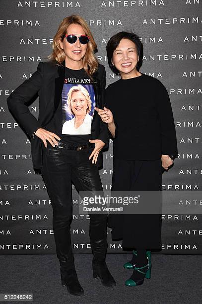 Jo Squillo and designer Izumi Ogino attend the Anteprima show during Milan Fashion Week Fall/Winter 2016/17 on February 25 2016 in Milan Italy
