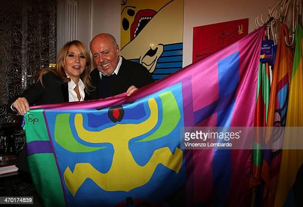 Jo Squillo and Elio Fiorucci attend the Art Therapy By Elio Fiorucci Milan Fashion Week Womenswear Autumn/Winter 2014 on February 18 2014 in Milan...