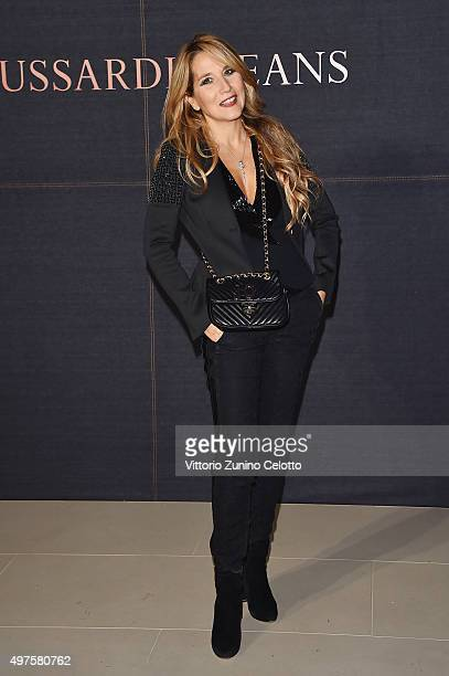 Jo Squillo attends a photocall for 'Trussardi Jeans Celebrates The New IT Bag' party on November 17 2015 in Milan Italy