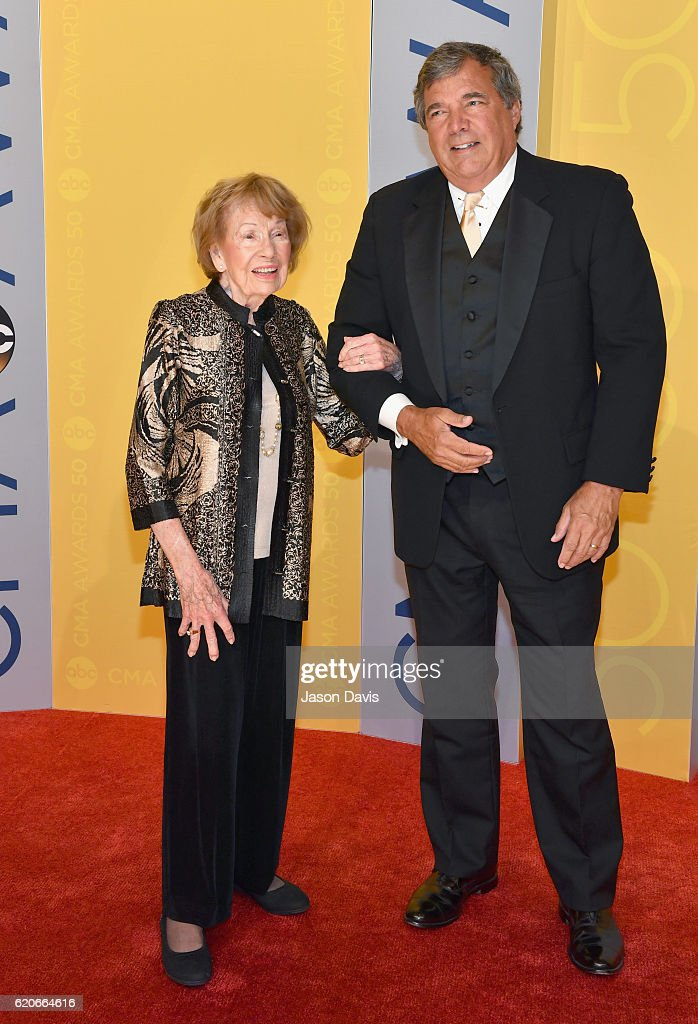 Jo Walker-Meador (L) and guest attend the 50th annual CMA Awards at the Bridgestone Arena on November 2, 2016 in Nashville, Tennessee.