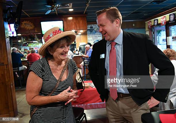 Jo Watts left jokes around with Corey Stewart Virginia chairman of Trump for President as he talks with patrons prior to a Veterans for Trump dinner...
