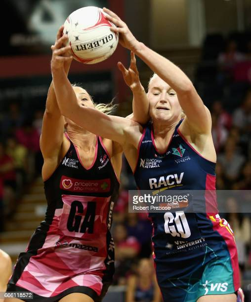 Jo Weston of the Vixens gathers the ball during the round eight Super Netball match between the Thunderbirds and the Vixens at Priceline Stadium on...