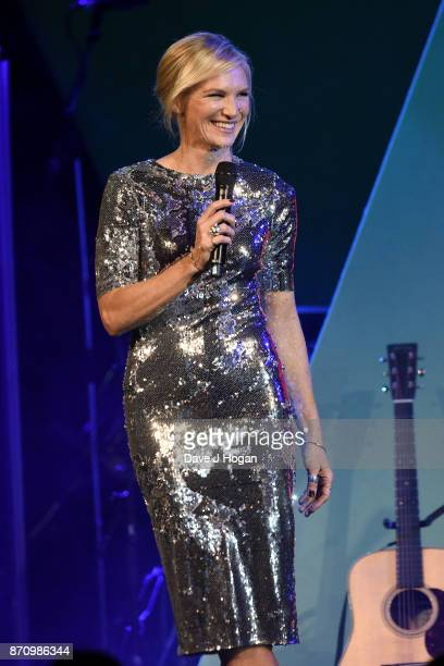 Jo Whiley speaks on stage at the 26th annual Music Industry Trust Awards held at The Grosvenor House Hotel on November 6 2017 in London England