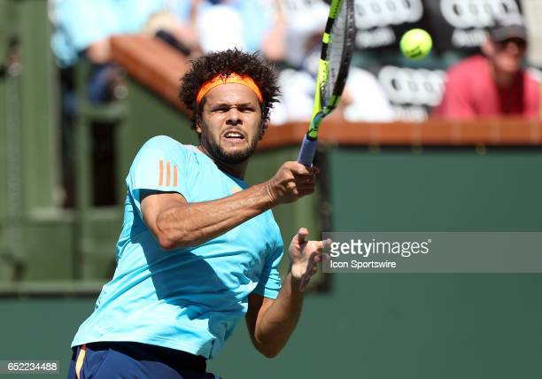 Jo Wilfred Tsonga hits a forehand during the second round of the BNP Paribas Open on March 11 at the Indian Wells Tennis Gardens in Indian Wells CA