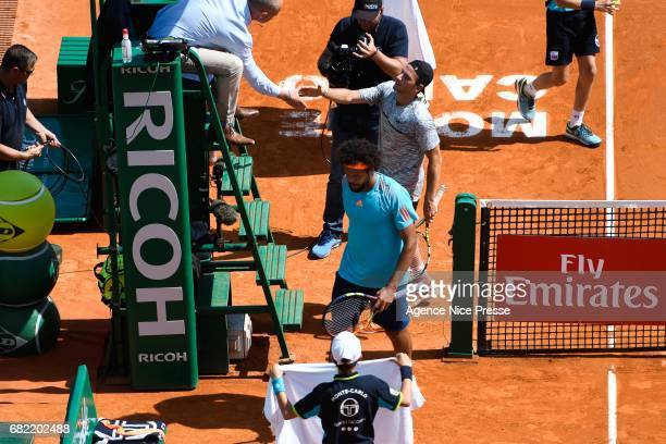 Jo Wilfried Tsonga an Adrian Mannarino of France during the Monte Carlo Rolex Masters 2017 on April 18 2017 in Monaco Monaco
