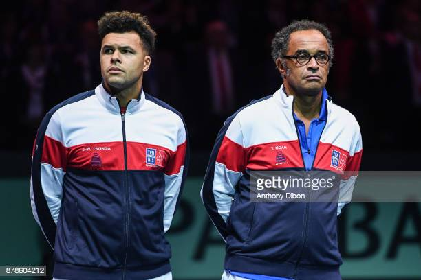 Jo Wilfried Tsonga and Yannick Noah coach of France during the day 1 of the Final of the Davis Cup match between France and Belgium at Stade Pierre...
