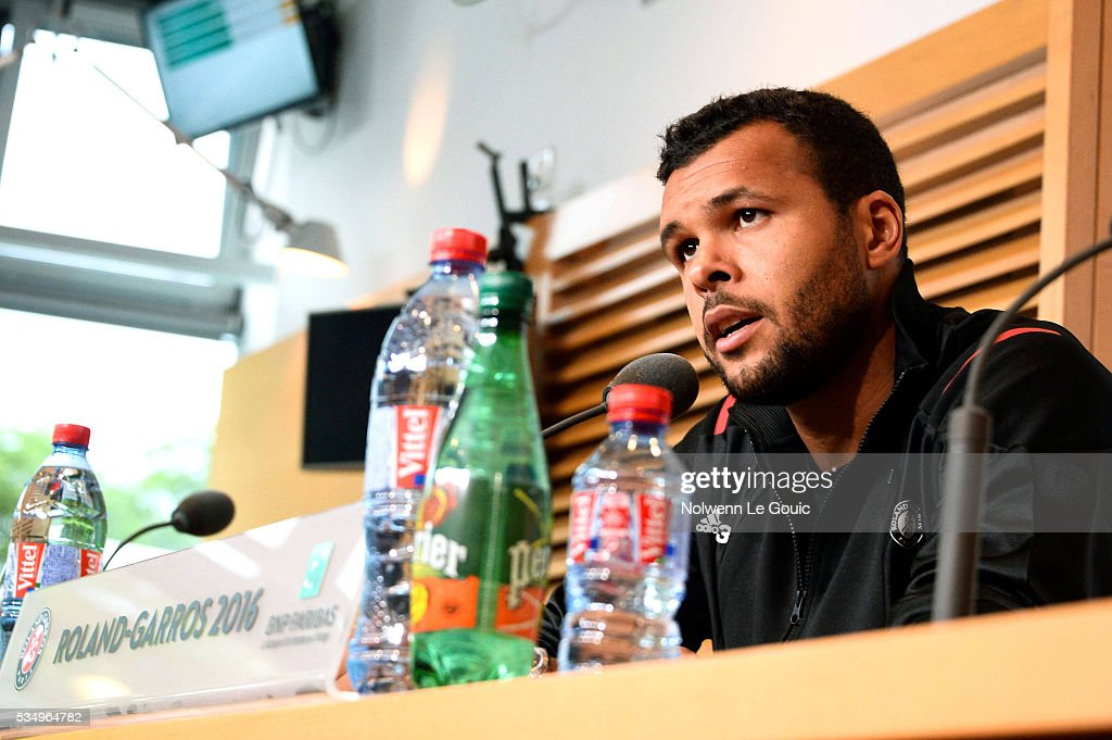 Jo Wilfried Tsonga at the press conference after he retires from the match due to injury during the Men's Singles third round on day seven of the French Open 2016 on May 28, 2016 in Paris, France.