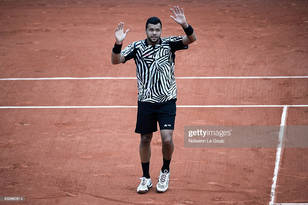 Jo Wilfried Tsonga celebrates during the Men's Singles first round on day three of the French Open 2016 at Roland Garros on May 24, 2016 in Paris, France.