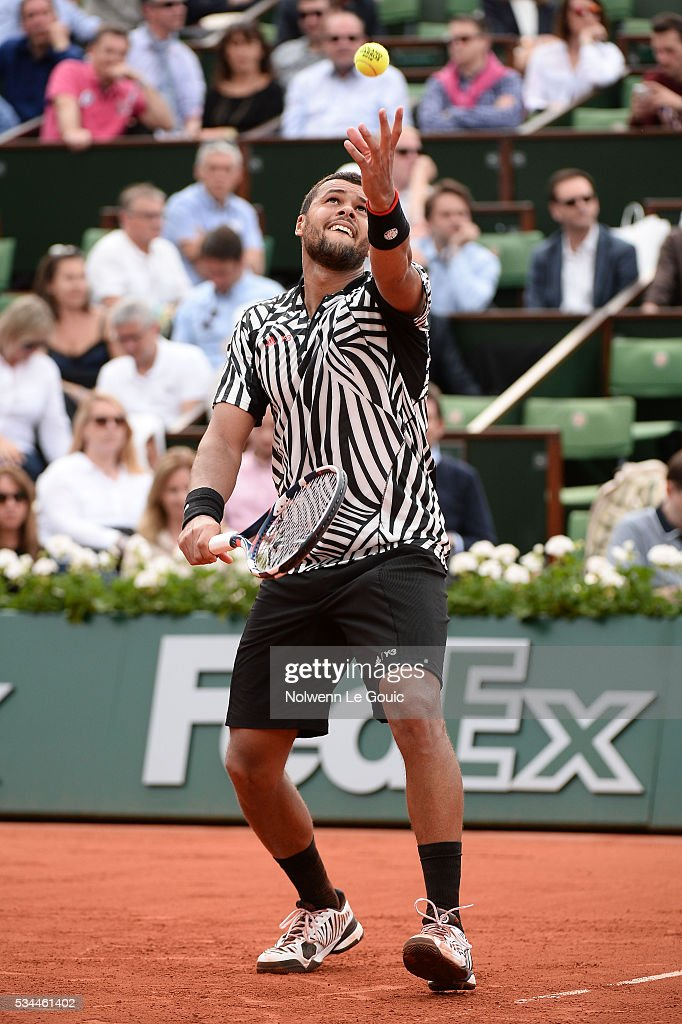 Jo Wilfried Tsonga during the Men's Singles second round on day five of the French Open 2016 at Roland Garros on May 26, 2016 in Paris, France.