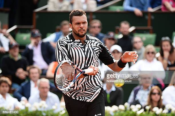 Jo Wilfried Tsonga during the Men's Singles second round on day five of the French Open 2016 at Roland Garros on May 26 2016 in Paris France