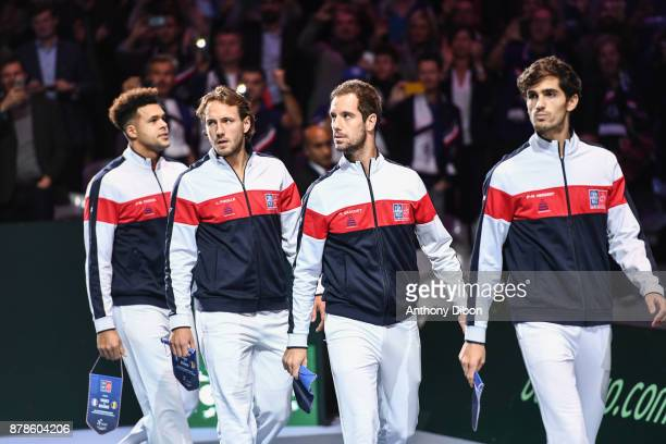 Jo Wilfried Tsonga Lucas Pouille Richard Gasquet and Pierre Hugues Herbert of France during the day 1 of the Final of the Davis Cup match between...
