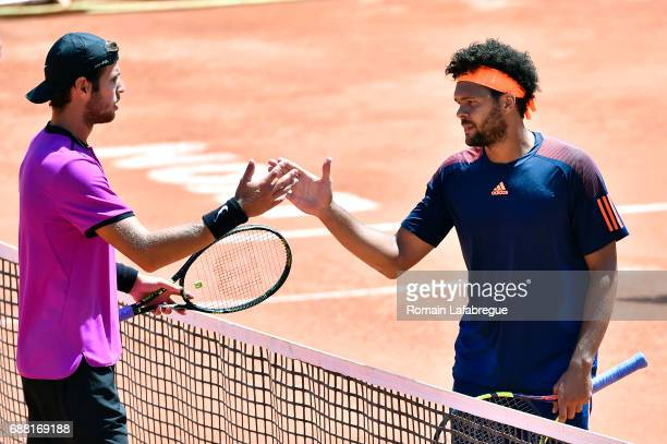 Jo Wilfried Tsonga of France and Russian Karen Khachanov during the Open Parc of Lyon 2017 quarter final day 6 on May 25 2017 in Lyon France
