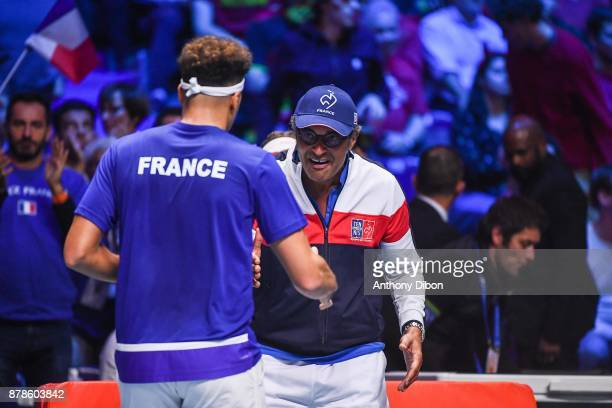 Jo Wilfried Tsonga of France and Yannick Noah coach of France during the day 1 of the Final of the Davis Cup match between France and Belgium at...