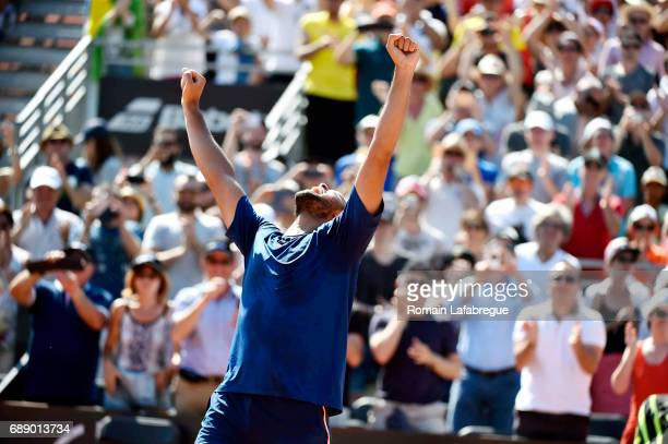Jo Wilfried Tsonga of France celebrates winning the Final of Open Parc of Lyon 2017 on May 27 2017 in Lyon France