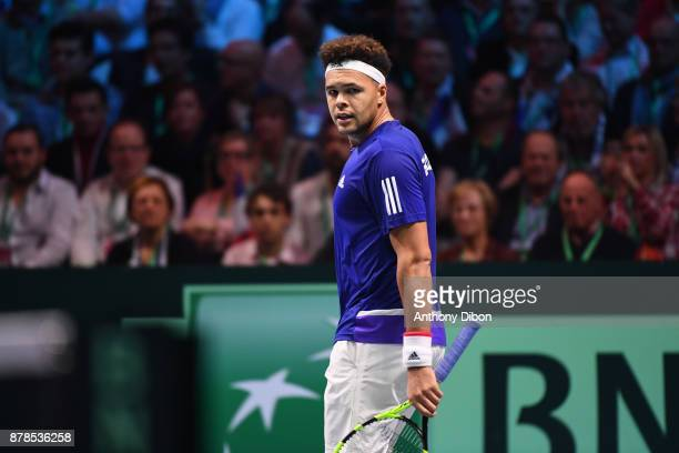 Jo Wilfried Tsonga of France during the day 1 of the Final of the Davis Cup match between France and Belgium at Stade Pierre Mauroy on November 24...
