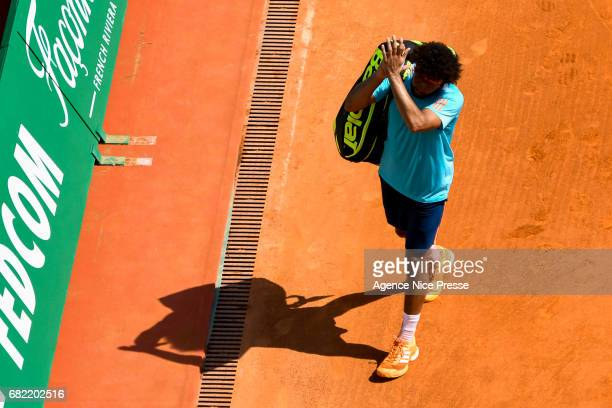 Jo Wilfried Tsonga of France looks dejected during the Monte Carlo Rolex Masters 2017 on April 18 2017 in Monaco Monaco