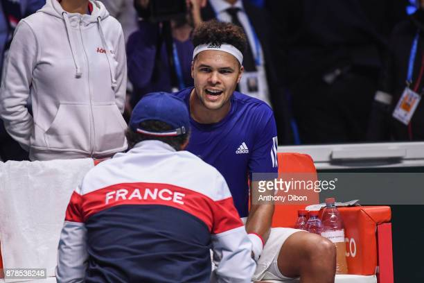 Jo Wilfried Tsonga of France talks with coach of France Yannick Noah during the day 1 of the Final of the Davis Cup match between France and Belgium...