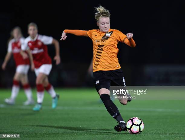 Jo Wilson of London Bees in action during the FA WSL Continental Cup match between Arsenal and London Bees on October 12 2017 in Borehamwood United...