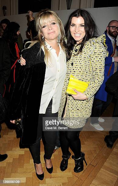 Jo Wood and Grace Woodward attend a VIP reception before the James Small Menswear Autumn/Winter 2012 show during London Fashion Week at the Vauxhall...
