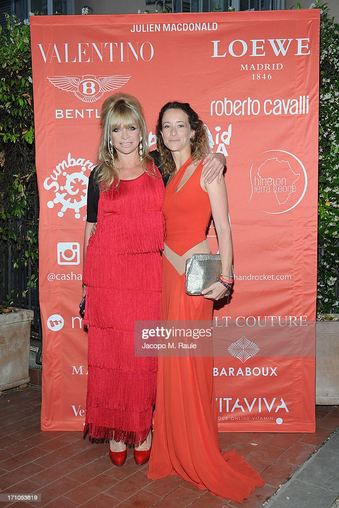 Jo Wood and Leah Wood attend Cash & Rocket On Tour Women for Women - Gala Dinner and Auction on June 16, 2013 in Rome, Italy.