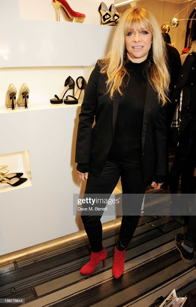 Jo Wood attends a Christmas drinks hosted by designer Nicholas Kirkwood to celebrate his partnership with Chambord black raspberry liquer, and launch the limited edition shoe 'The Chambord' at the Nicholas Kirkwood Mount Street store on December 12, 2012 in London, England.