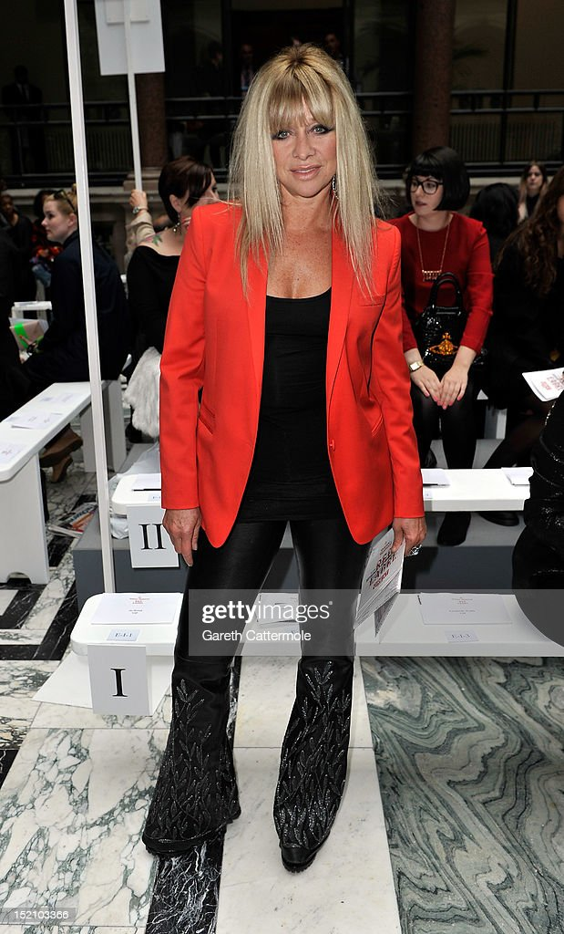 Jo Wood attends the front row for the Vivienne Westwood Red Label show on day 3 of London Fashion Week Spring/Summer 2013, at the British Foreign & Commonwealth Office on September 16, 2012 in London, England.