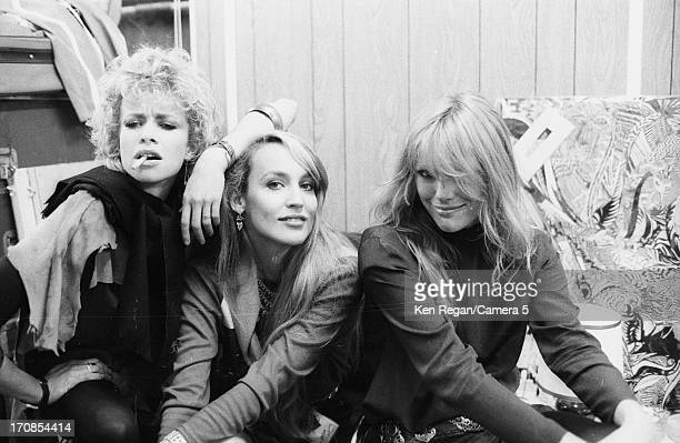 Jo Wood Jerry Hall and Patti Hansen are photographed for the July 19 1982 issue of People Magazine on June 2526 1982 backstage of a Rolling Stone...