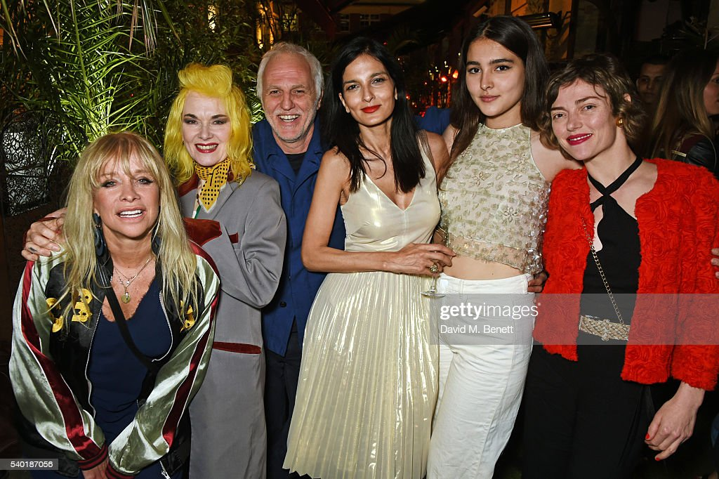 Jo Wood Pam Hogg Mourad Mazouz Yasmin Mills Maddie Mills and Camilla Rutherford attend Black Dice's 1st Birthday Party at Black Dice beneath MOMO on...