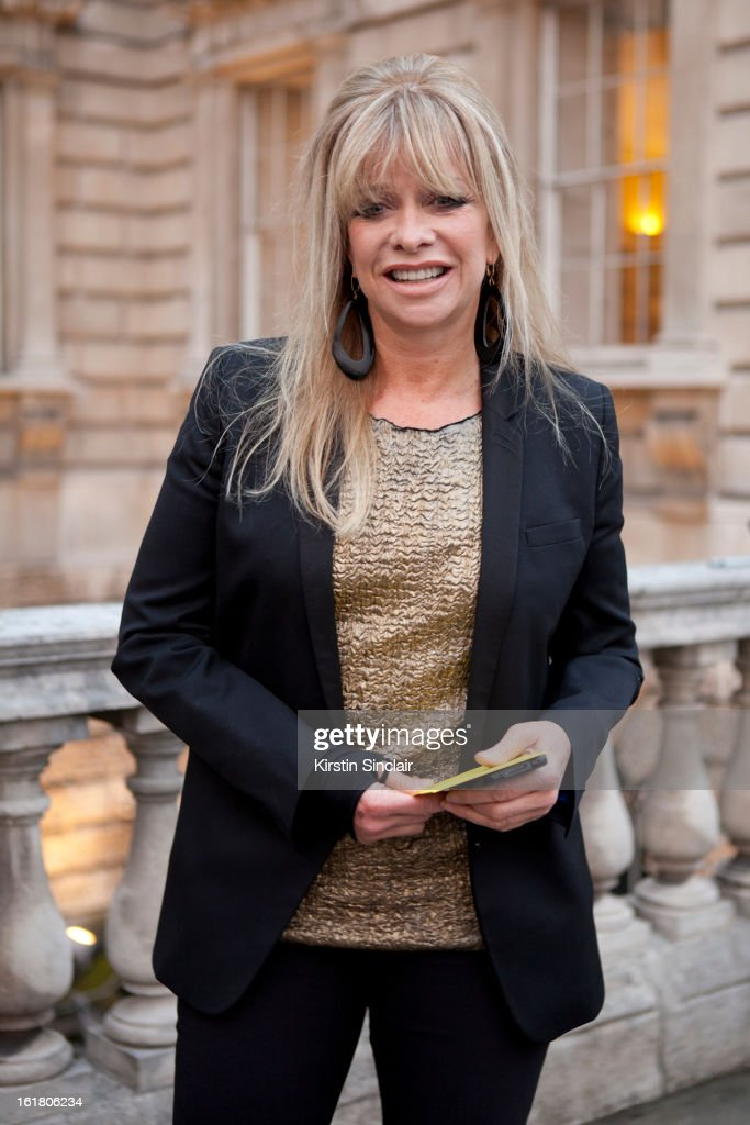 Jo Wood sighted wearing a jacket from The Kooples and vintage top on day 1 of London Womens Fashion Week Autumn/Winter 2013 on February 15, 2013 in London, England.