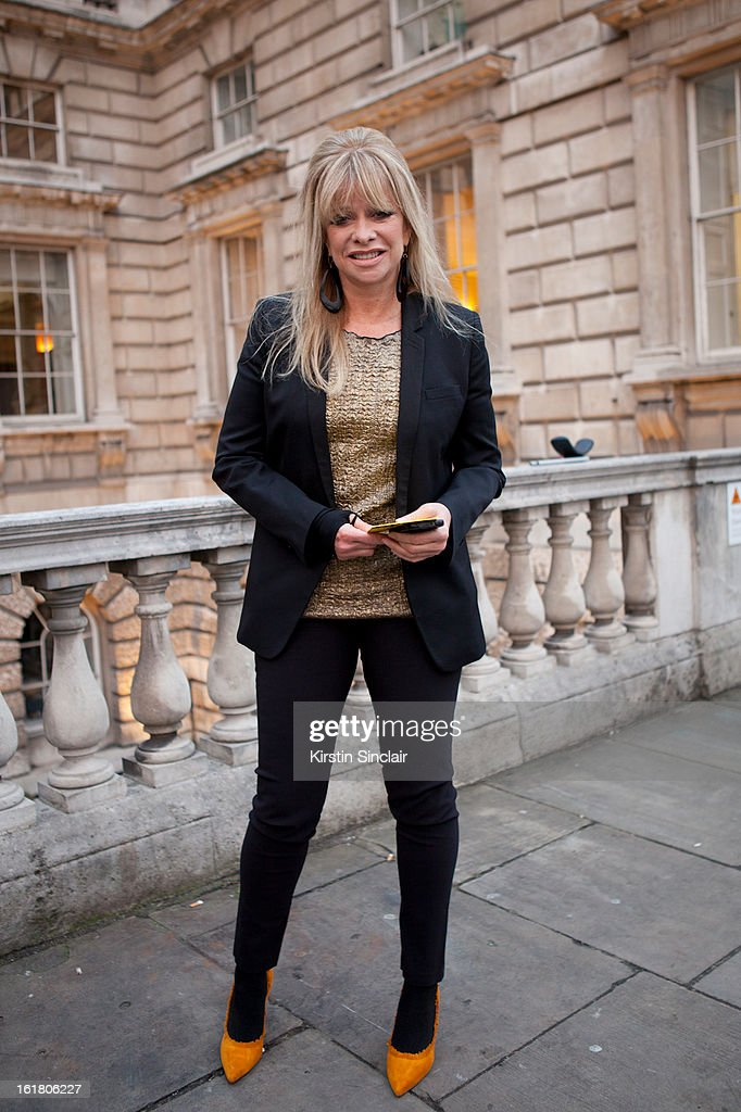 Jo Wood sighted wearing a jacket from The Kooples, vintage top, shoes from Miami on day 1 of London Womens Fashion Week Autumn/Winter 2013 on February 15, 2013 in London, England.