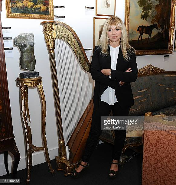 Jo Wood unveils the collection of Ronnie and Jo Wood at Julien's Auctions Gallery on October 15 2012 in Los Angeles California