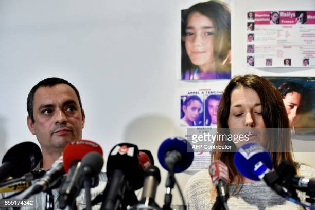 Joachim and Jennifer de Araujo parents of nineyearold Maelys who went missing from a wedding on August 27 address a press conference in Villeurbanne...