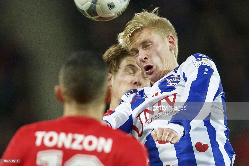 Joachim Andersen of FC Twente, Morten Thorsby of sc Heerenveen during the Dutch Eredivisie match between sc Heerenveen and FC Twente at Abe Lenstra Stadium on February 06, 2016 in Heerenveen, The Netherlands