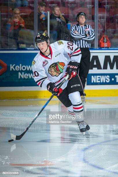Joachim Blichfeld of the Portland Winterhawks warms up with the puck against the Kelowna Rockets at Prospera Place on October 20 2017 in Kelowna...