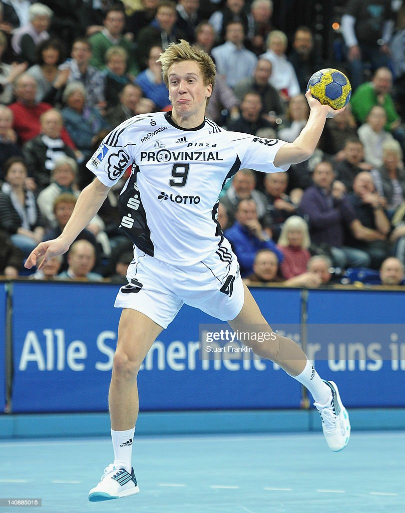Joachim Boldt of Kiel throws a goal during the Toyota Bundesliga match between THW Kiel and HBW Balingen-Weilstetten at the Sparkassen Arena on March 7, 2012 in Kiel, Germany.