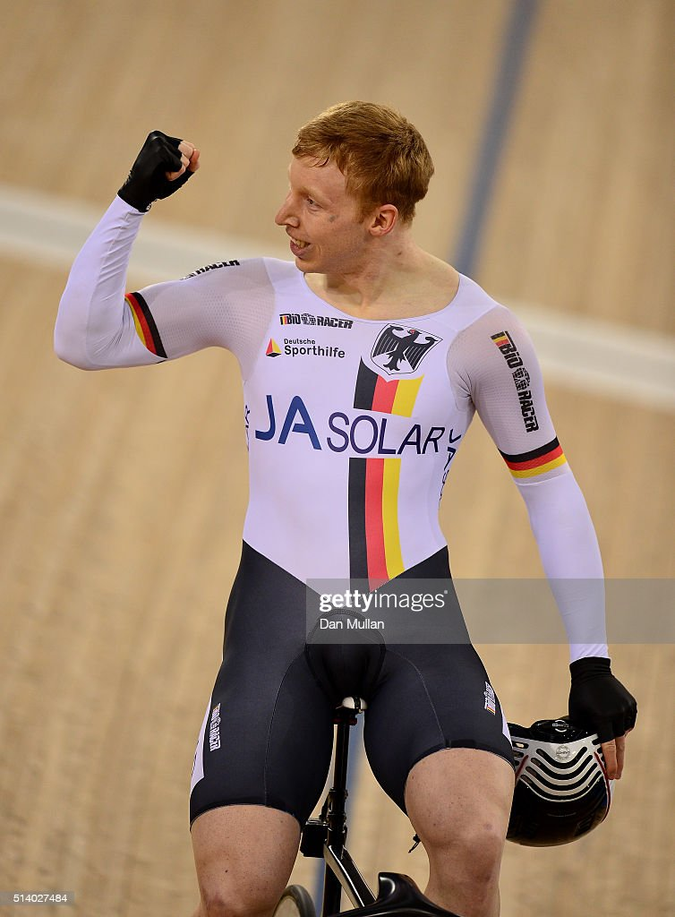 Joachim Eilers of Germany celebrates after winning the Men's Keirin Final during Day Five of the UCI Track Cycling World Championships at Lee Valley...